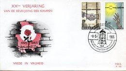 BELGIQUE. N°1329-30 De 1965 Sur Enveloppe 1er Jour. Libération Des Camps/Rose. - WW2
