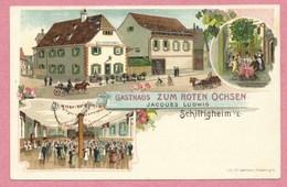67 - SCHILTIGHEIM - Litho Couleur GABELMANN - Gasthaus Zum ROTEN OCHSEN - Jacques LUDWIG - Schiltigheim