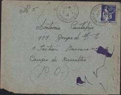 Guerre Espagne Retirada YT FM10 Latour De France 2 7 41 De 111 Cie Travailleurs étrangers 7e Section Pr Camp Rivesaltes - Marcophilie (Lettres)