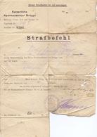 Brief Lettre - Strafbefehl Kaiserliche Kommandantur Brugge - Van De Velde Assebroek - 1918 - 20 Mark Boete - Oude Documenten