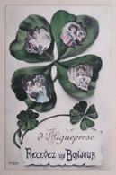 63 AIGUEPERSE Recevez Un Bonjour, Carte Souvenir Tréfle à Quatre Feuilles - Aigueperse