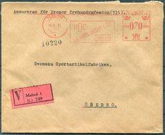 1933 Sweden Malmo 70ore  Franking Machine, Metermark V Insured Cover - Orebro. Herbert Dieden & Co. Wax Seals - Covers & Documents