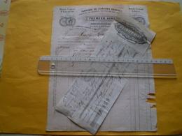 LAC 2718 De Romans 1862 Facture Absinthe Premier Ainé à Romans, Drôme.timbre Fiscal Humide & à Sec - France