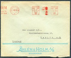 1932 Sweden Stockholm 25ore  Franking Machine, Metermark Cover. Ahlen & Holm - Berlin Germany - Covers & Documents
