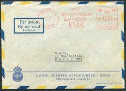 1951 Sweden Stockholm 30ore KSAK Franking Machine, Metermark Airmail Cover. Kungl. Svensk Aeroklubben - Covers & Documents