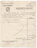 Brief Lettre - Oorlog 1914 - 1918 - Requisitie Biljet Gemeente Assebroek - Dienst Duitse Troepen 1918 - Oude Documenten