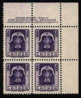 Canada Kanada 1955. **MNH. Musk-ox Moschusochse Bœuf Musqué Sheet Corner With Margins - Sonstige