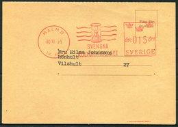 1959 Sweden Malmo 15ore Svenska Kulturforlaget Franking Machine, Metermark Postcard. - Covers & Documents