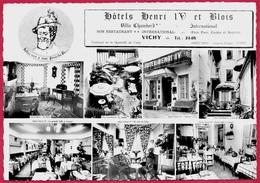 """CPSM Publicitaire 03 VICHY - Hôtels Henri IV Et Blois """"Joyeux Noël Et Bonne Année"""" De Monsieur Et Madame FIARD * Hôtel - Vichy"""
