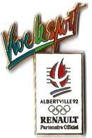 JO ALBERTVILLE 92 - J129 - CLUB COUBERTIN - RENAULT - VIVE LE SPORT - Verso : C RENAULT - Jeux Olympiques