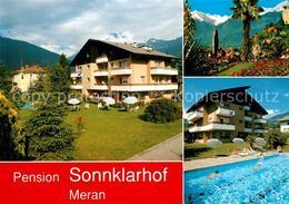 13221883 Merano_Suedtirol Pension Sonnklarhof Swimming Pool Ortsansicht Mit Kirc - Italia