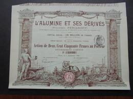 FRANCE - PARIS 1898 - L'ALUMINE ET SES DERIVES : PROCEDES PENIAKOFF - ACTON DE 250 FRS - BELLE ILLUSTRATION - Azioni & Titoli