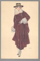 Cpa...illustrateur Italien...Lax...art Nouveau/art Déco/mode...femme élégante En Manteau De Fourrure... - Illustrateurs & Photographes