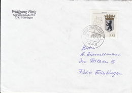 84031- BERLIN COAT OF ARMS STAMPS ON COVER, 1992, GERMANY - Storia Postale
