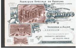 Buvard Fabrique Spéciale De Parfums Pour Limonades & Sirop A. BEYNET & Cie VARENNES SUR ALLIER - Softdrinks