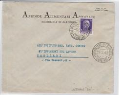 Mussolinia Di Sardegna. 1942. Annullo Guller MUSSOLINIA DI SARDEGNA *CAGLIARI*, Su Lettera Pubblicitaria. - Storia Postale