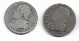 Lot De 2 Pièces D'1 Lire De Pie IX 1867 Et 1868 - Vaticano