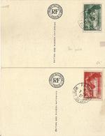 FRANCIA  354/5 En 2 Tarjetas Del Museo Del Louvre. Catalogo 100 € - Gebruikt
