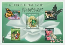 Belgium 2019 MS MNH Exceptional Polinators Insects Butterflies Carnegiea Long-nosed Bat - Fledermäuse