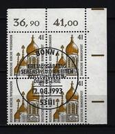 BUND - Mi-Nr. 1687 Viererblock Rechtes, Oberes Eckrandstück Sehenswürdigkeiten Gestempelt - [7] République Fédérale