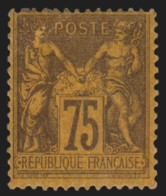 France N°99, Sage 75c Violet Sur Orange, Neufs * Avec Gomme COTE 400 € - B/TB - 1876-1898 Sage (Type II)