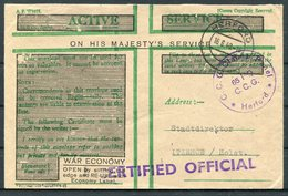 1949 Germany British Active Service Green OHMS Cover. Herford C.C.G. Claims Panel Denazification - Itzehoe Holstein. - Covers & Documents