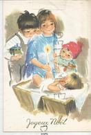 Trois Enfants Penchés Sur L'Enfant Jésus. Train, Bougie Et Ourson. - Otros