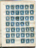 RC 14789 LOT DE NAPOLÉON / CÉRÈS DANS UN VIEUX CAHIER POUR ETUDE - TOUS ETATS NOMBREUX 2ème CHOIX DEFECTUEUX OXYDATION - 1871-1875 Ceres