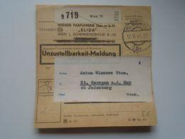ZA244.2 Austria Unzustellbarkeit-Meldung -Undeliverable -Wiener Parfumerie ELIDA -to St.Georgen A.d. Mur Ob Judenburg - Austria