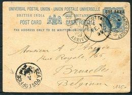 1899 India Stationery Postcard, Calcutta Park Street - Bruxelles Belgium Via Sea Post Office. - India (...-1947)