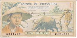 BILLETE DE INDOCHINE DE 1 PIASTRE DEL AÑO 1949 EN CALIDAD EBC (XF)  (BANKNOTE) BANQUE DE L'INDOCHINE - Indochina