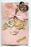STE SAINTE CATHERINE 0004  Jolie Carte Double  Livret Feuillets écrits Et AJOUTIS Ruban Rose Fleurs Roses Tissus - Santa Caterina