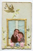 STE SAINTE CATHERINE 0009  Jolie Carte Double  Livret Feuillets   AJOUTIS Cadre Dorures Tissus Mousseline Bleue - Santa Catalina