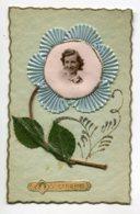 STE SAINTE CATHERINE 0022  Ajoutis  Fleur Avec Portrait Jeune Fille  Cordon Doré Tissu Bleu - Santa Catalina