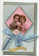 STE SAINTE CATHERINE 0016  Jolie Carte Double  Livret Feuilletsécrits   AJOUTIS  Ruban Bleu Photo Bordures Guipures - Santa Caterina