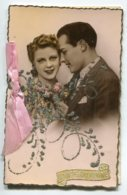 STE SAINTE CATHERINE 0039 Carte Double Avec Livret   Couple  Enlacé   Petits Brillants    Ruban Rose - Santa Catalina