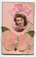 STE SAINTE CATHERINE 0060 Carte Systeme Tirette Effet POP  UP   Portrait Femme  S'avancant Papillon Mousseline Rose Aile - Santa Caterina