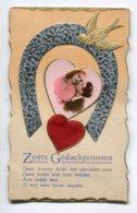 FANTAISIE AJOUTIS COLLAGES 0061 Carte Double Avec Livret   Fer à Cheval Coeur Couple Amoureux - Móviles (animadas)