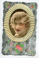 STE SAINTE CATHERINE 0064 Ajoutis Collages Portrait Jeune Fille Voile Jaune  Peinte - Santa Catalina