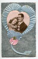 STE SAINTE CATHERINE 0066 Ajoutis Collages Portrait  Couple Amoureux  Tissu Bleu Coeur    écrite - Santa Catalina
