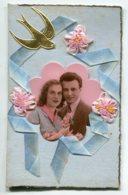 FANTAISIE AJOUTIS COLLAGES 0063 Carte Double Avec Livret    Couple Amoureux Ruban Bleu Fleurs Tissu - Móviles (animadas)