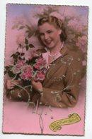 STE SAINTE CATHERINE 0071 Ajoutis Collages Portrait Jeune Fille Bouquets De Roses Petits Brillants - Santa Catalina