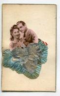FANTAISIE AJOUTIS COLLAGES 0078 Couple Amoureux  Feuille Argentée Tissus Bleu - Móviles (animadas)