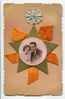 STE SAINTE CATHERINE 00809 Carte Systeme Tirette Effet POP  UP   Couple  Etoile Dorée Ruban Orange - Santa Catalina