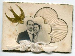 VOEUX De MARIAGE 0073 Ajoutis Collages Carte Double I Portrait  Couple  De Mariés Dentelle Tissu Et Ruban Blanc - Felicitaciones (Fiestas)