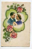FANTAISIE AJOUTIS COLLAGES 0093  Couple Amoureux  Fleurs Roses Petits Brillants   écrite Voir Dos - Móviles (animadas)