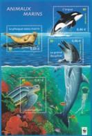 Frankreich, 2002  3622/25 Block 28, MNH **, Naturschutz: Meerestiere. - Blocs & Feuillets