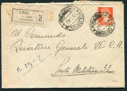 """1942 Italy BOLOGNA REGISTERED Fieldpost Posta Militaire Cover + Letter. 35 Reg. """"Fanteria"""", Motorizzato """"Pistoia"""" - Marcophilia"""