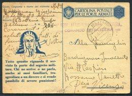 1943 Italy Illustrated Cartolina Postale Per Le Forze Armate, Stationery Postcard. Post Militare 158 / 206 France. - Marcophilia