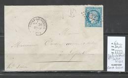 France - Lettre - Saulx De Vesoul - Haute Saone - 1873 -GRANDE CASSURE Du Yvert 60 - Marcofilia (sobres)